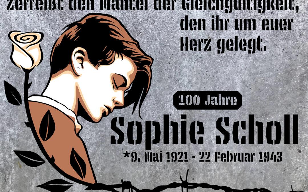 Sophie Scholl 100 anniversary streetart